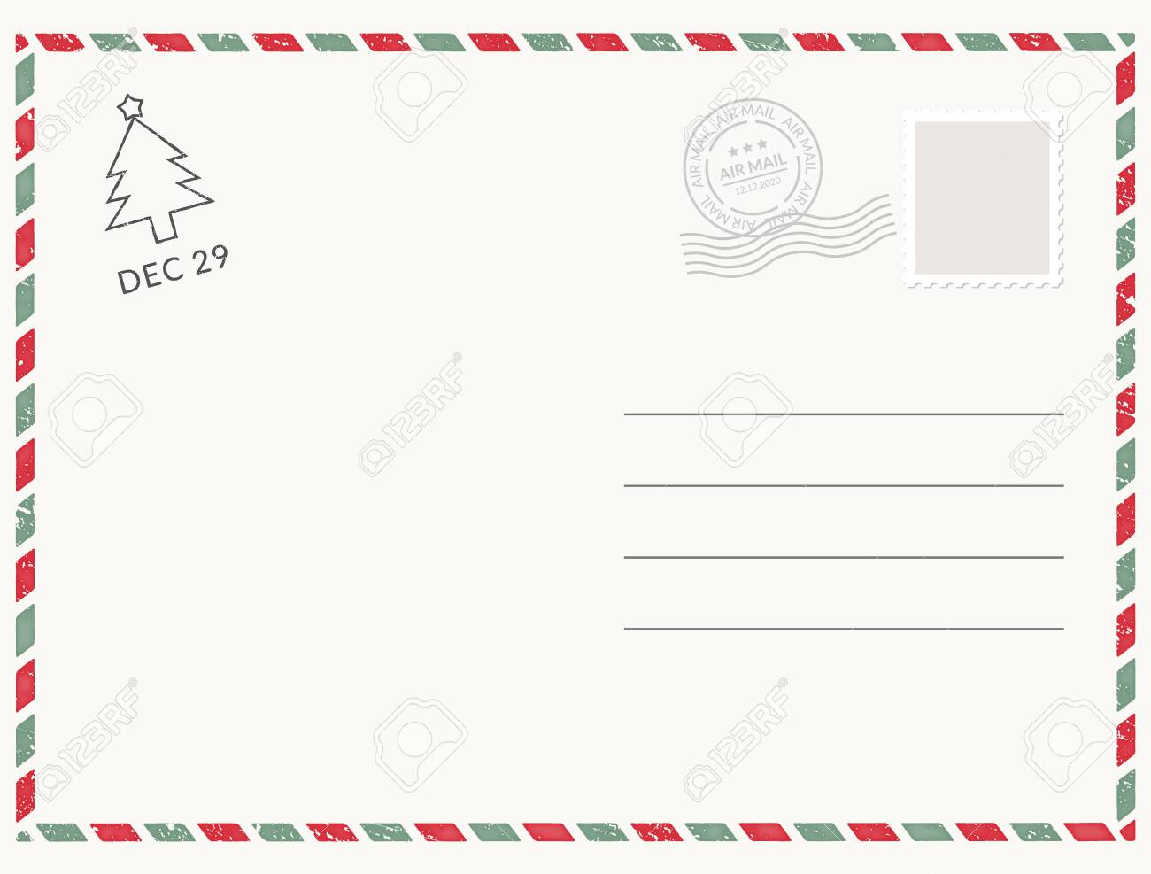 Postcard template paper white texture. Vector postcard empty mail stamp and message design - 122353704
