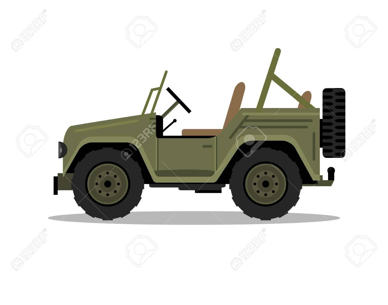 Military army car jeep vehicle. Humvee vector hummer cartoon flat safari oddroad truck illustration - 122353795