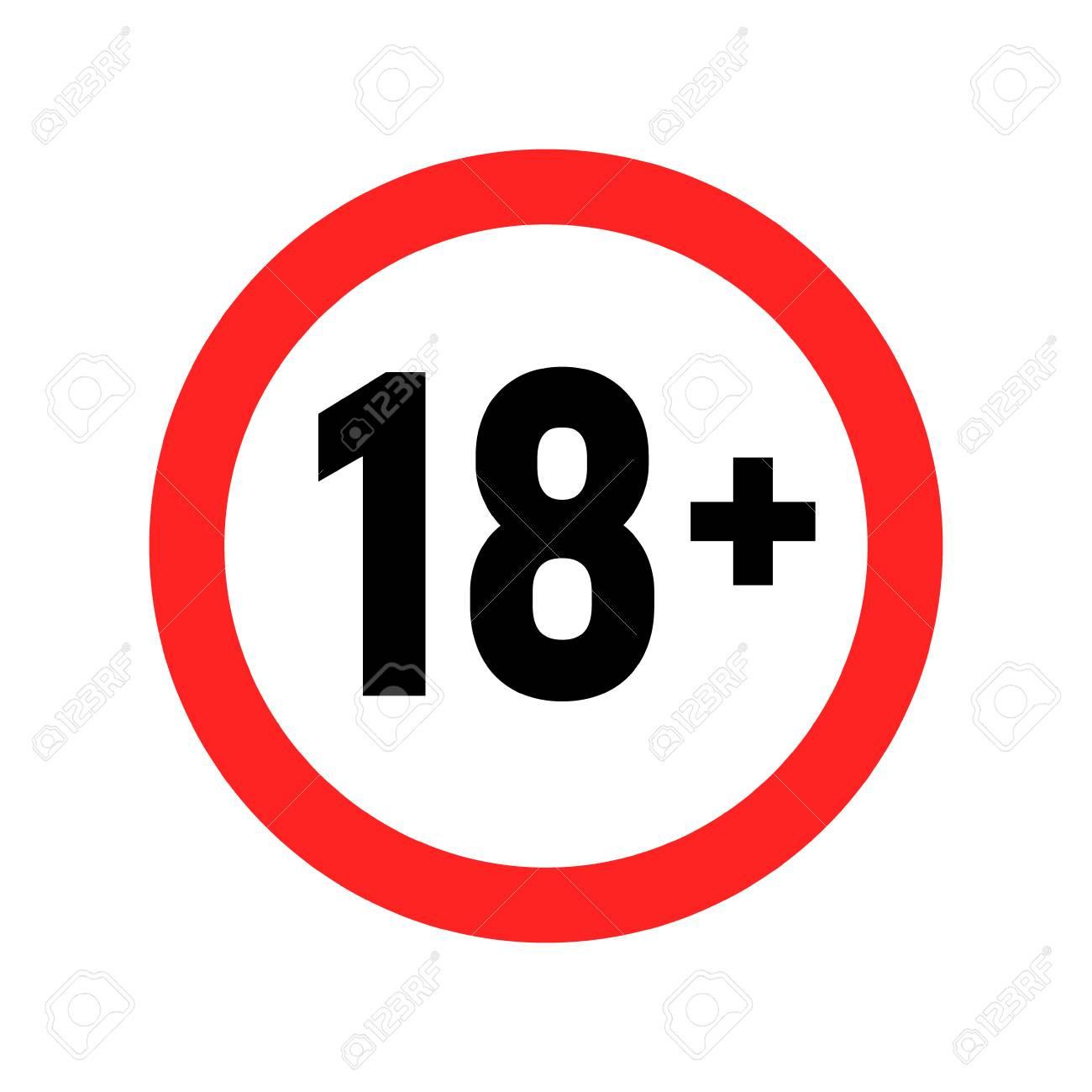 Under 18 Sign Warning Symbol. Over 18 Only Censored. Eighteen.. Royalty  Free Cliparts, Vectors, And Stock Illustration. Image 122354281.