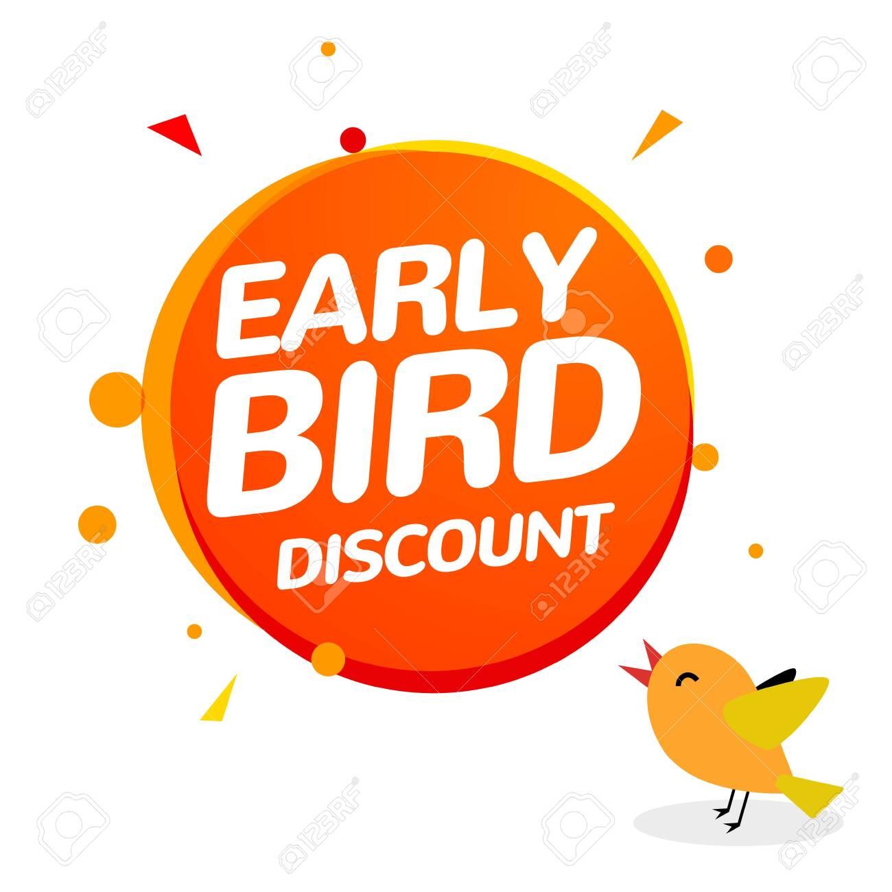 Early bird discount vector special offer sale icon. Early bird icon cartoon promo sign banner - 122354750