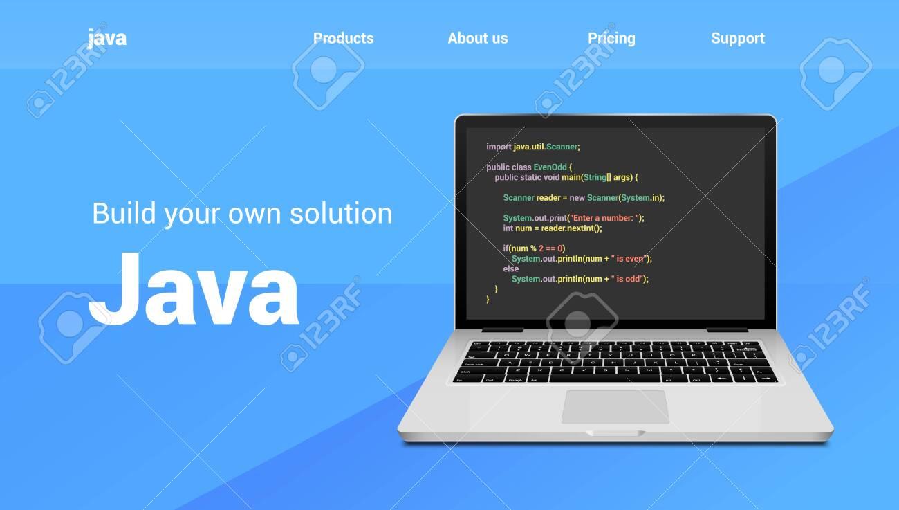 Java programming code technology banner  Java language software