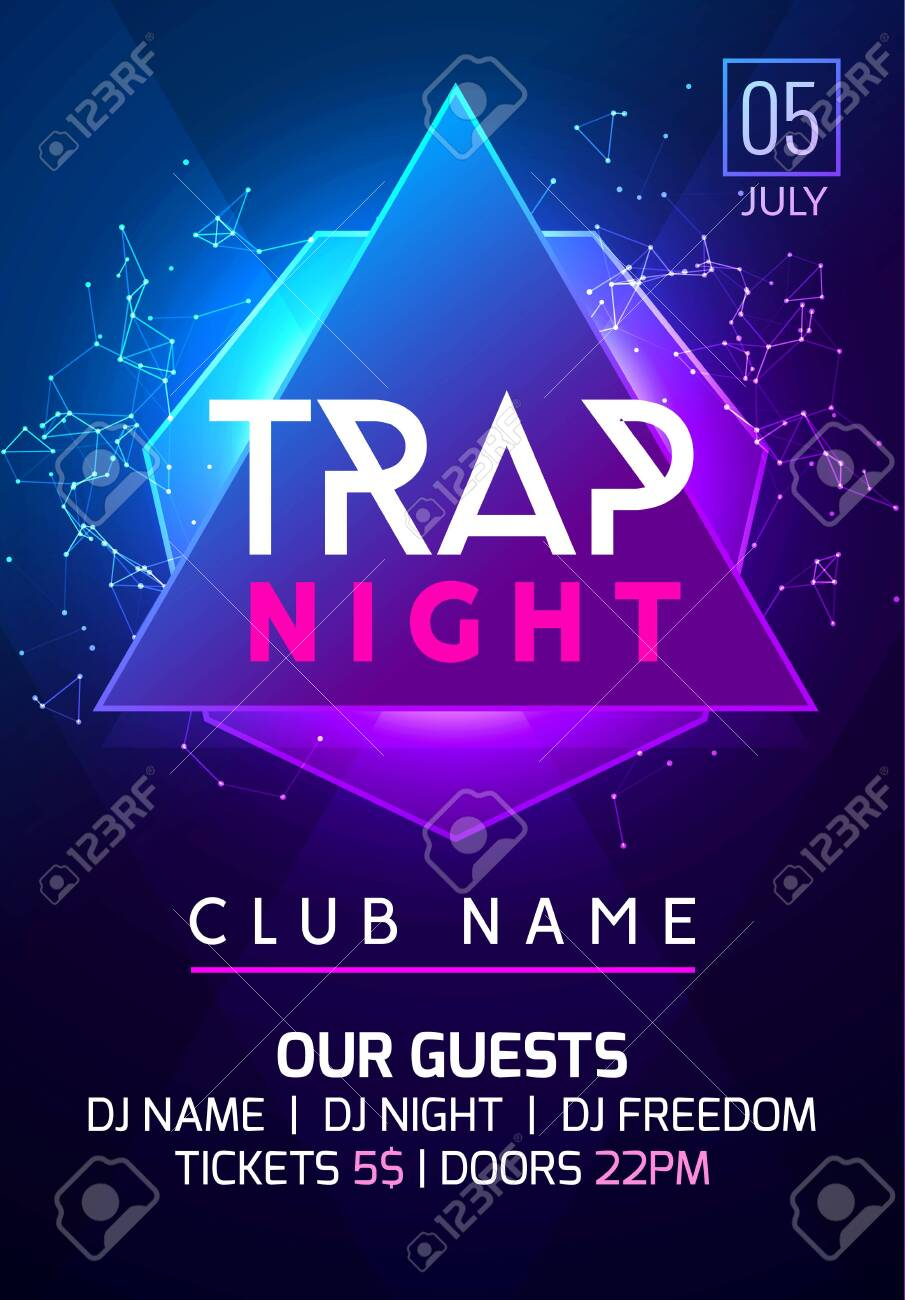 Party Music Poster Night Dance Invitation Trap Party Flyer Design Royalty Free Cliparts Vectors And Stock Illustration Image 126175339