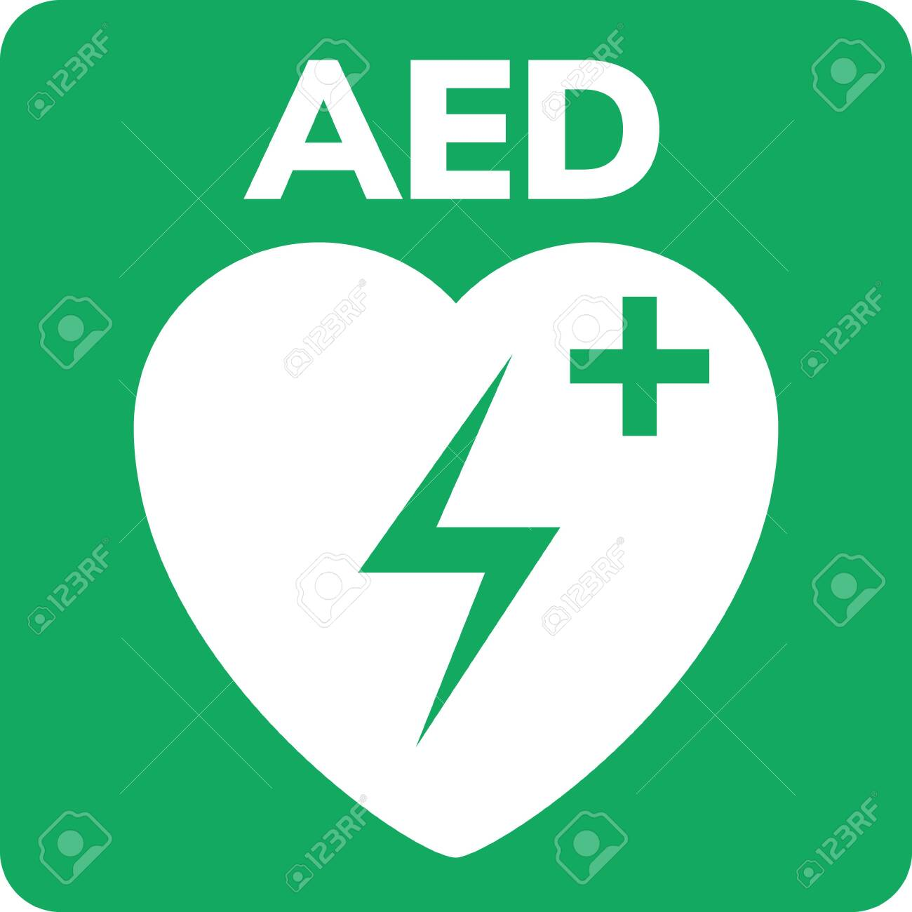 AED symbol icon  Heart first aid defibrillator sign  Automated