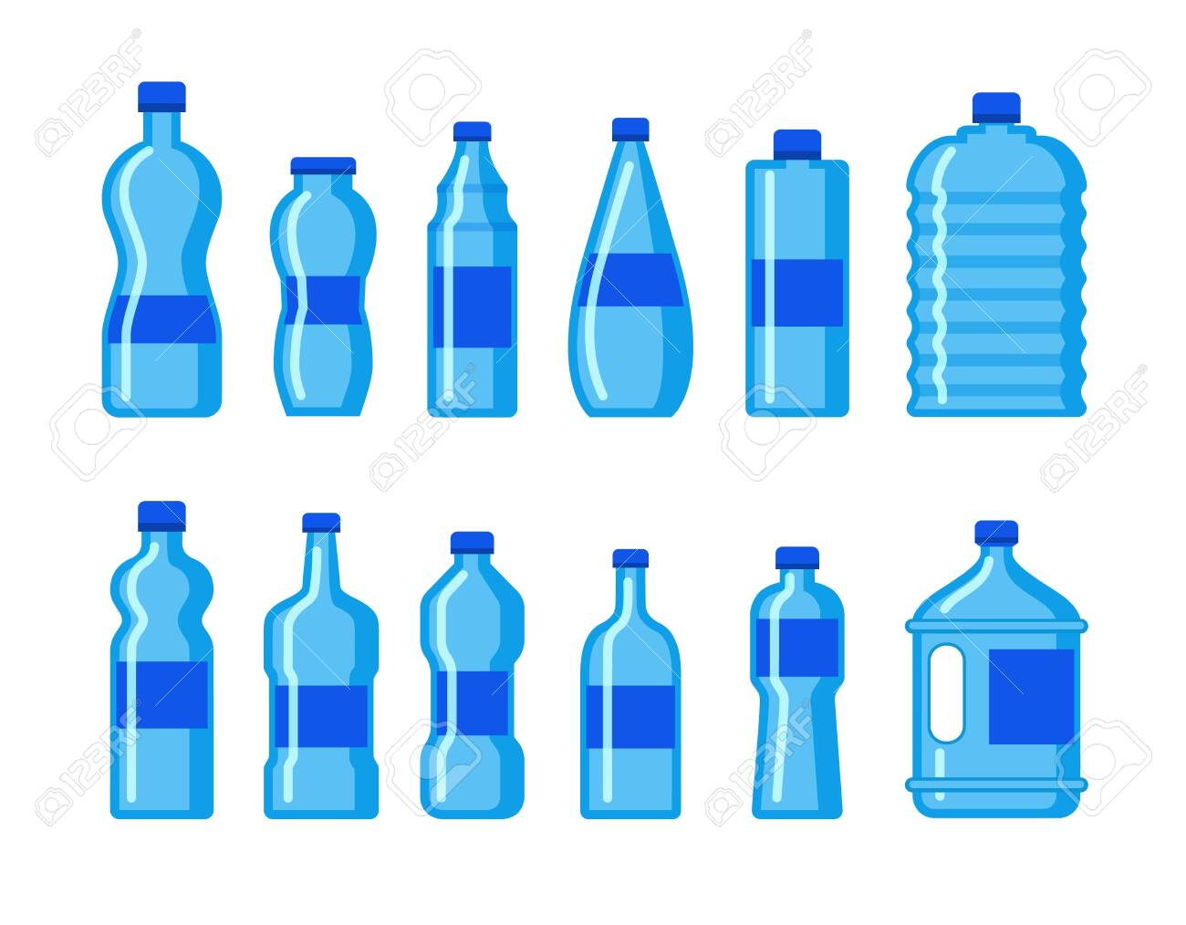 Plastic Water Bottle Icon Blue Liquid Container Drink Bottle Royalty Free Cliparts Vectors And Stock Illustration Image 128905239