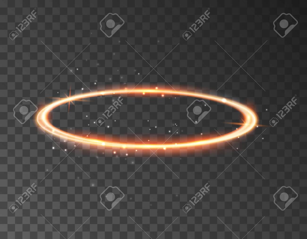 Angel halo ring saint aureole icon. Holy ring angel halo isolated nimbus gold circle realistic element. - 129438639