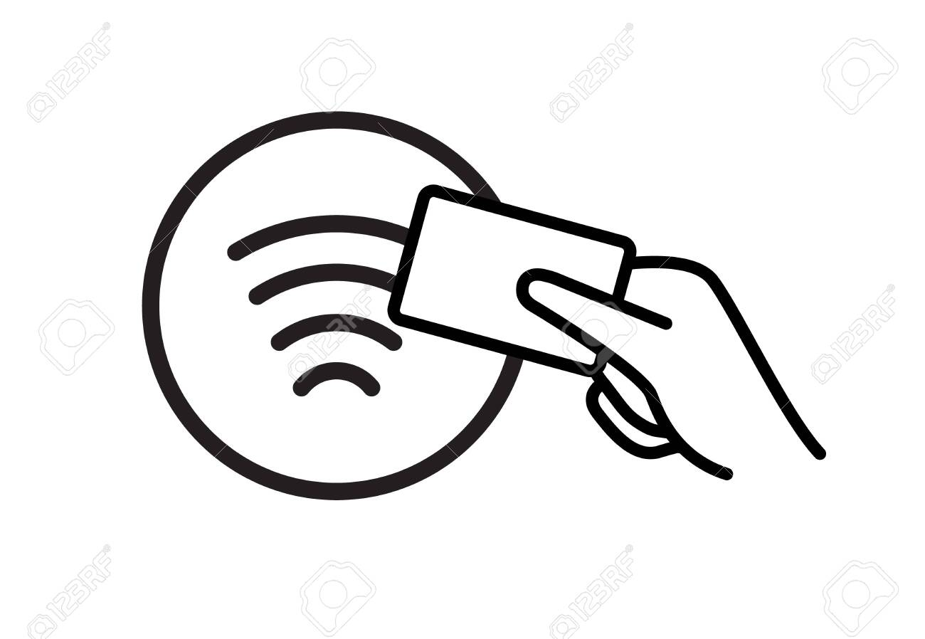 Contactless NFC wireless pay sign logo. Credit card nfc payment..