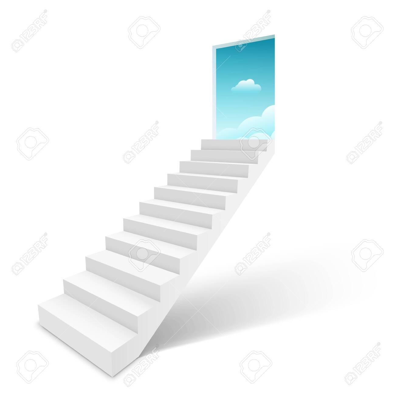 Stairway with open door heaven, ladder staircase to sky concept. - 132345690