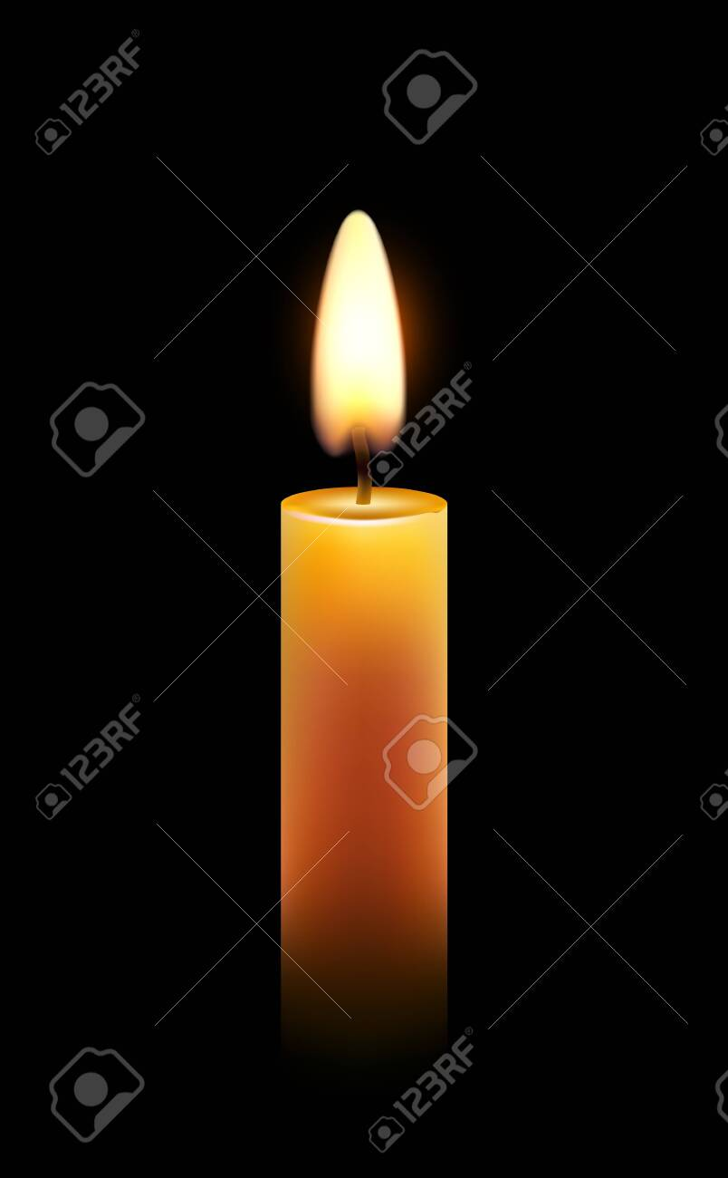 Vector wax candle flame isolated light background, realistic candlelight. - 136212240