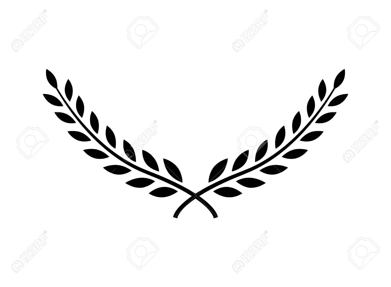Laurel wreath vector award branch victory icon. Winner laurel wreath vintage leaf emblem - 136943466