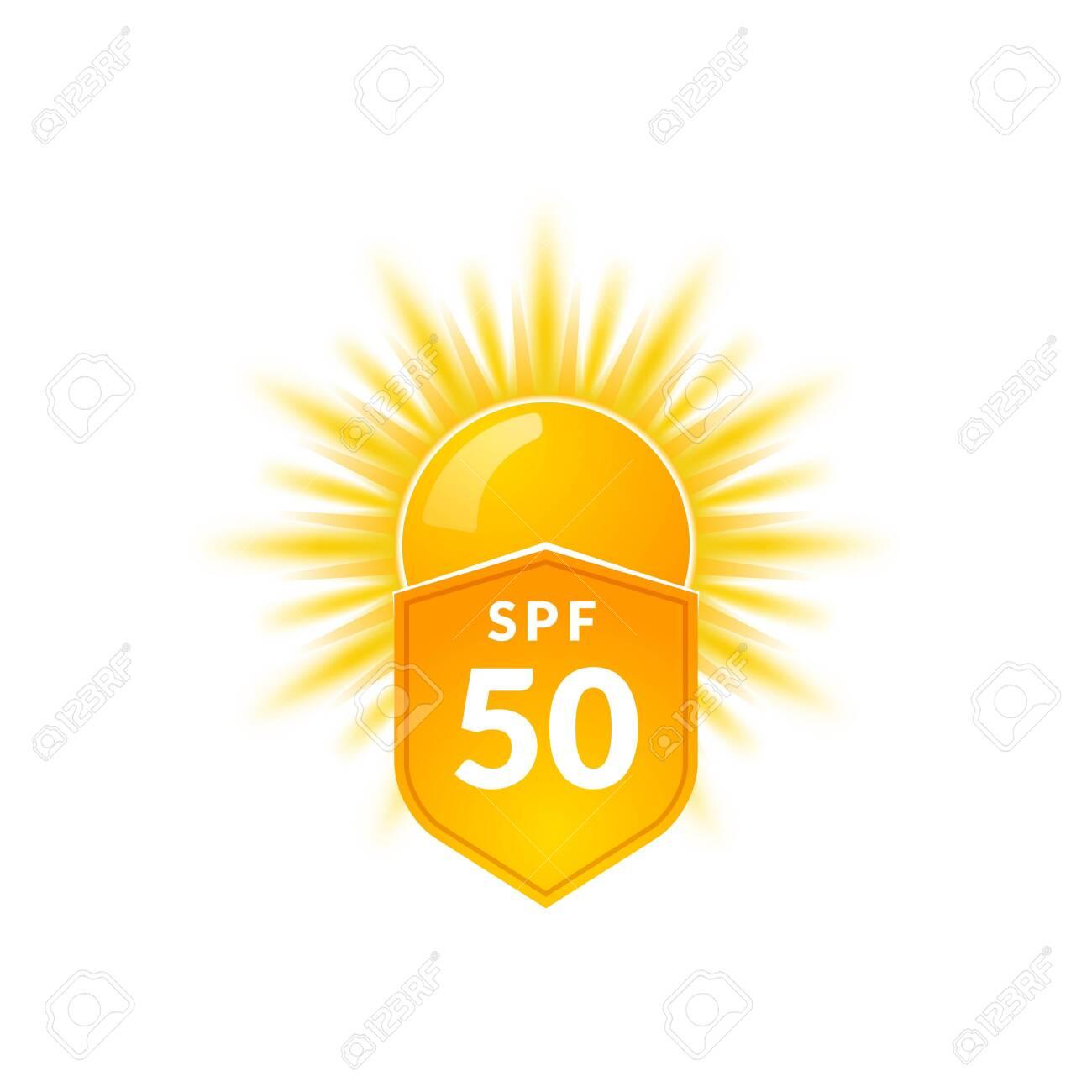 UV radiation sun block icon. Solar ultraviolet uv radiation 50spf - 136943474