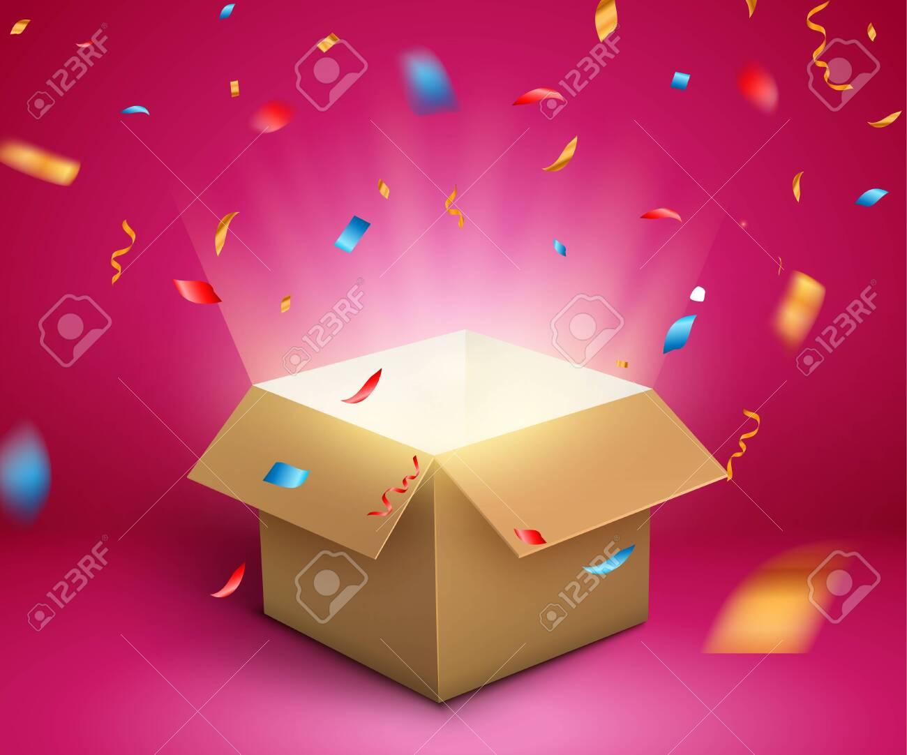 Gift box confetti explosion. Magic open surprise gift box package decoration. - 139624878