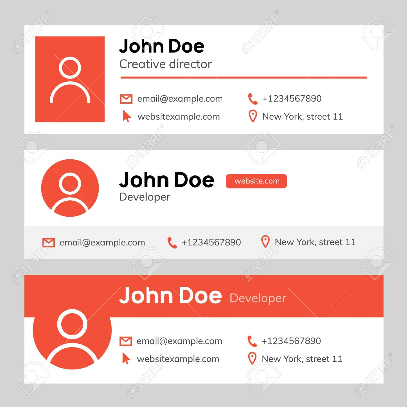 Email Signature Template Design Corporate Mail Business Email Royalty Free Cliparts Vectors And Stock Illustration Image 143126607