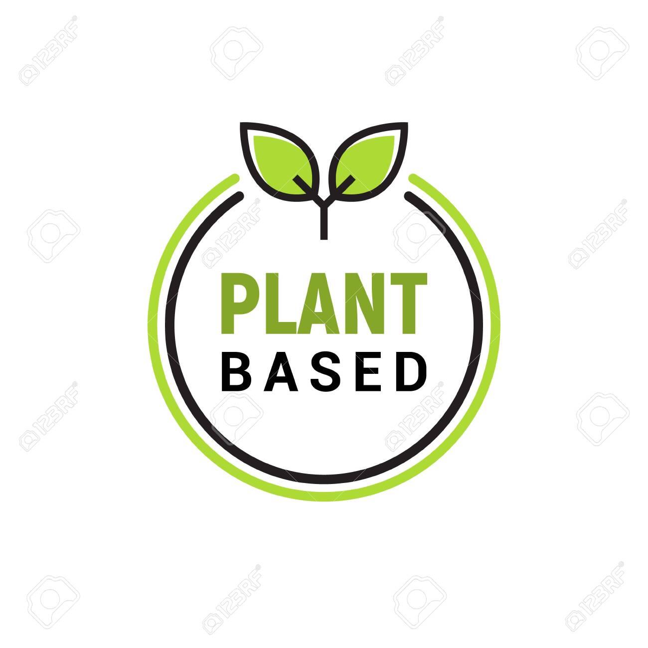 Plant based vegan badge eco icon. Suitable vegetarian symbol logo leaf plant sign. - 144227191