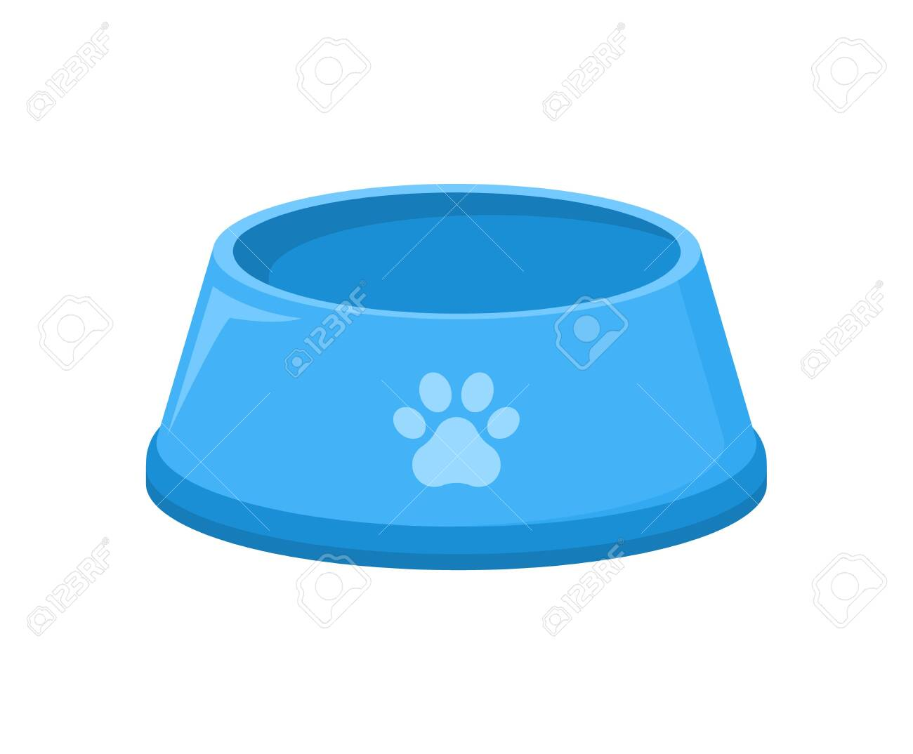 Pet food bowl for dog cat vector icon. Pet plate isolated flat feed bowl - 144227501