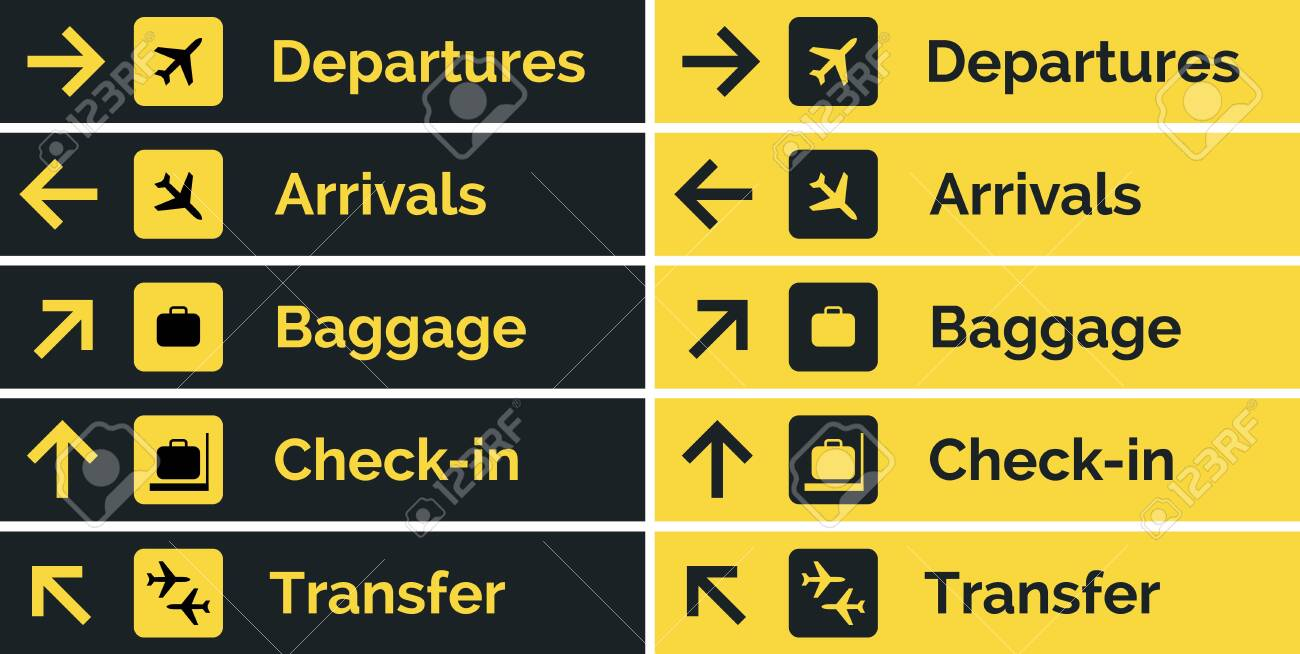Airport sign departure arrival travel icon. Vector airport board airline sign, gate flight information. - 145264920