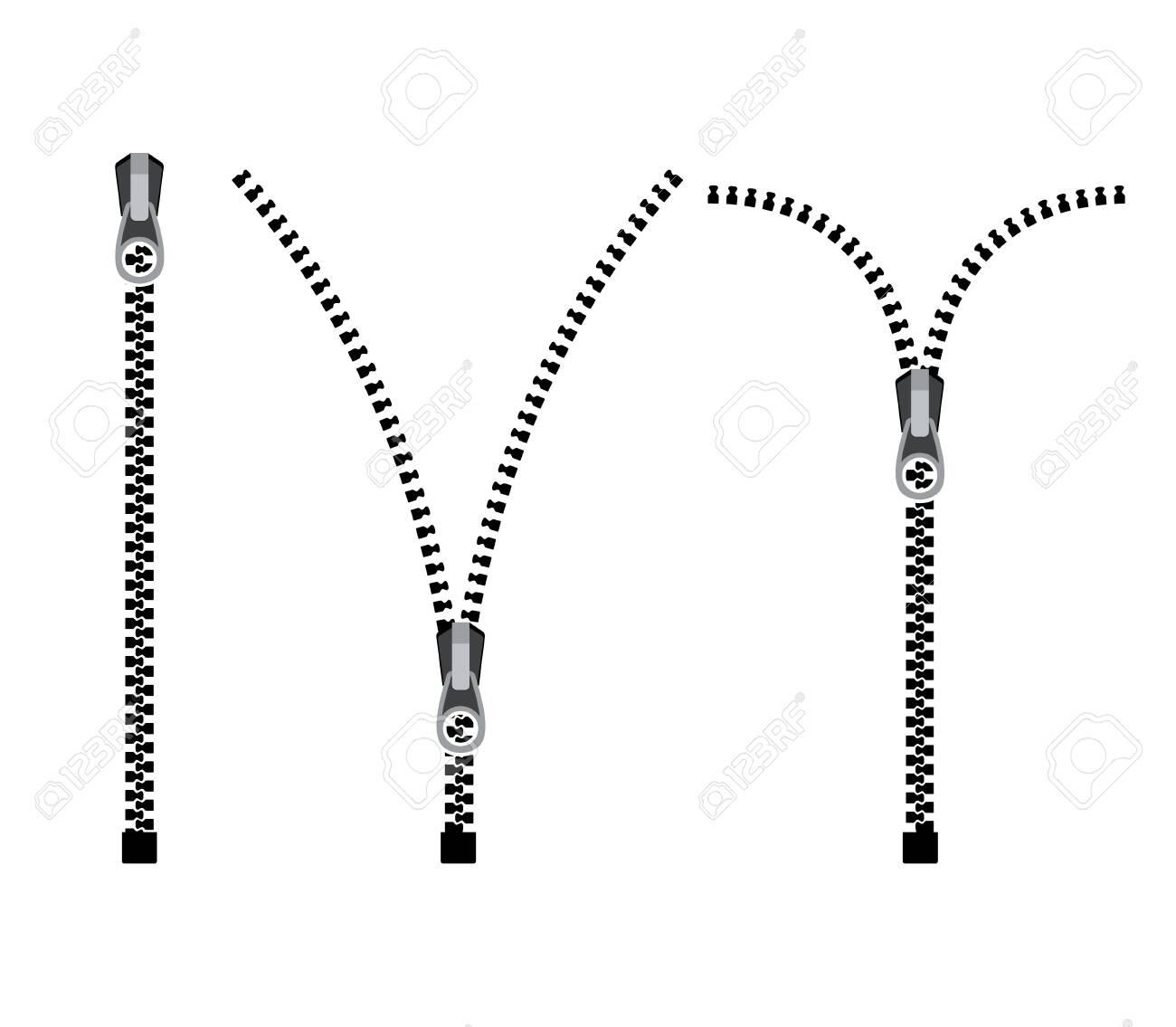 Open zipper teeth metal fastener isolated illustration. Unzip sewing black lock plastic zip buckle - 145426949