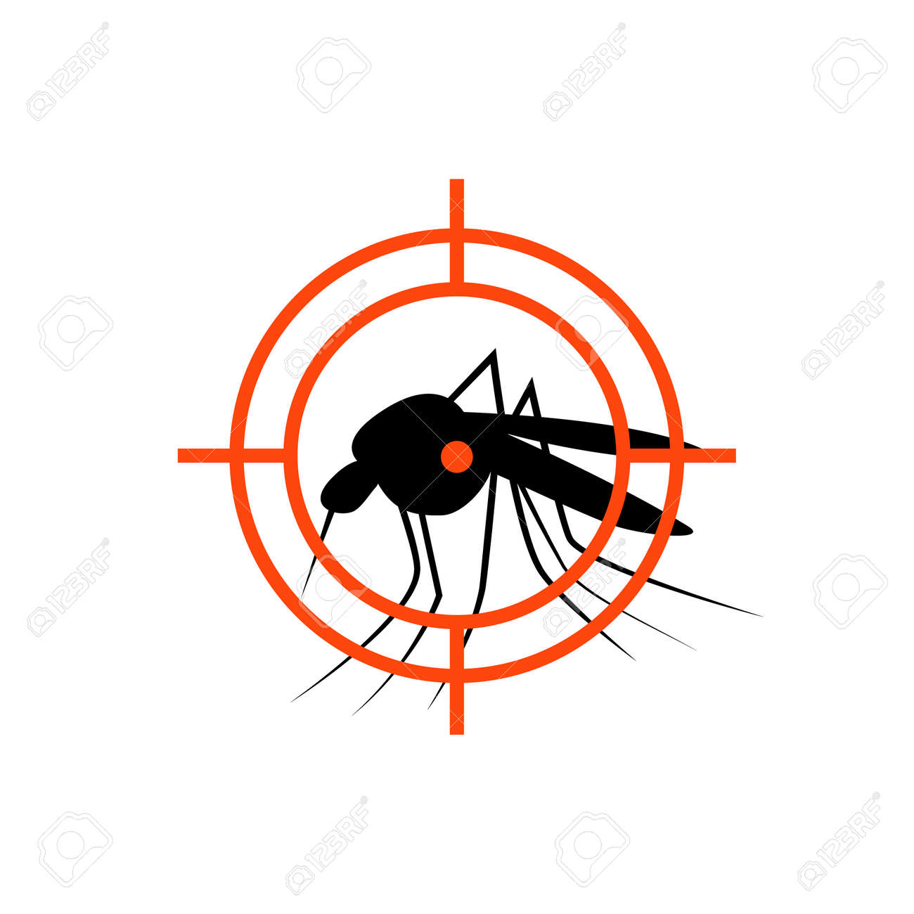 Repellent mosquito stop aim sign icon. Malaria pest insect anti mosquito warning symbol - 155138764