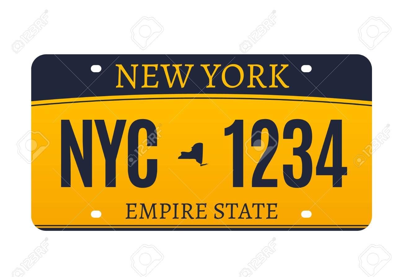 New York licence plate. American metal vehicle registration - 157121648