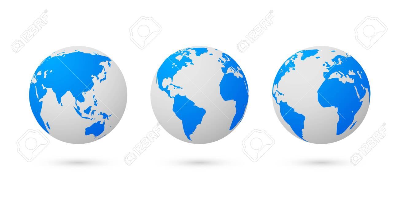 Globe earth world vector map. 3d blue transparent digital planet round globe icon set - 158166499