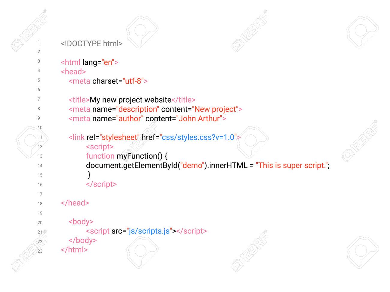 HTML screen code program developer background. Computer web interface html code vector - 161386583