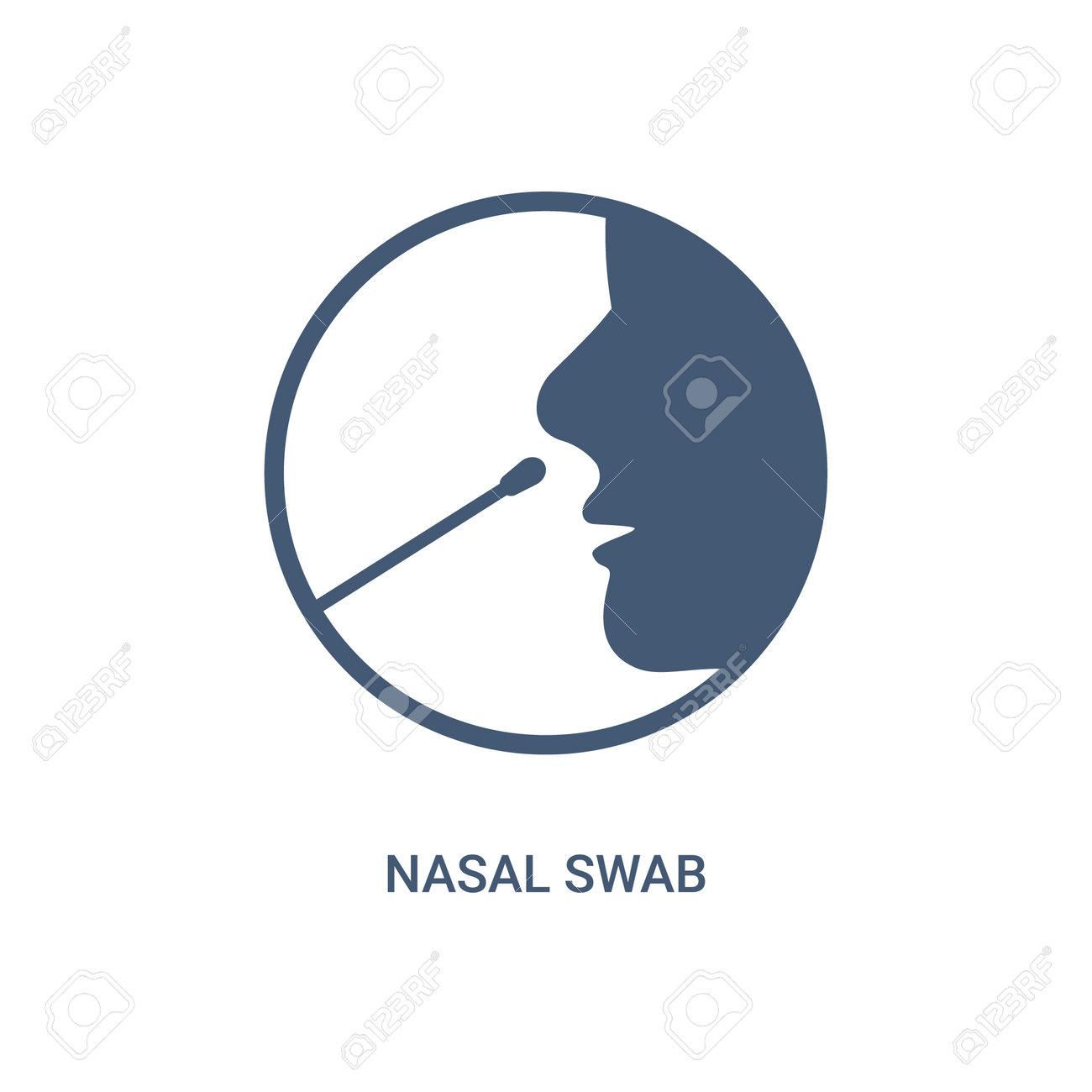 Covid nasal swab icon. Corona virus nasal pcr swab test line icon - 163994702
