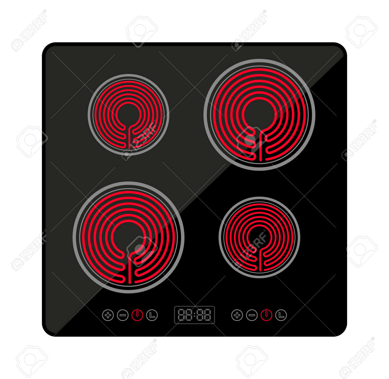 Induction stove cooker electric hob heater. Cooctop ceramic electric induction stove spiral top view - 167089255