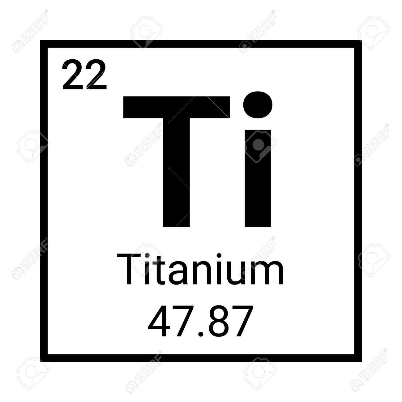 Titanium periodic element icon. Titanium symbol chemistry - 168952611