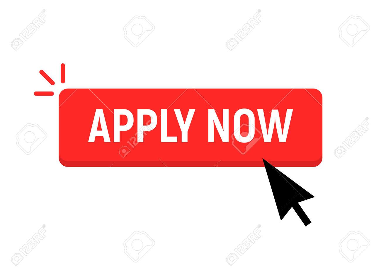 Apply now job submit button icon. Vector apply now click cursor - 168952716