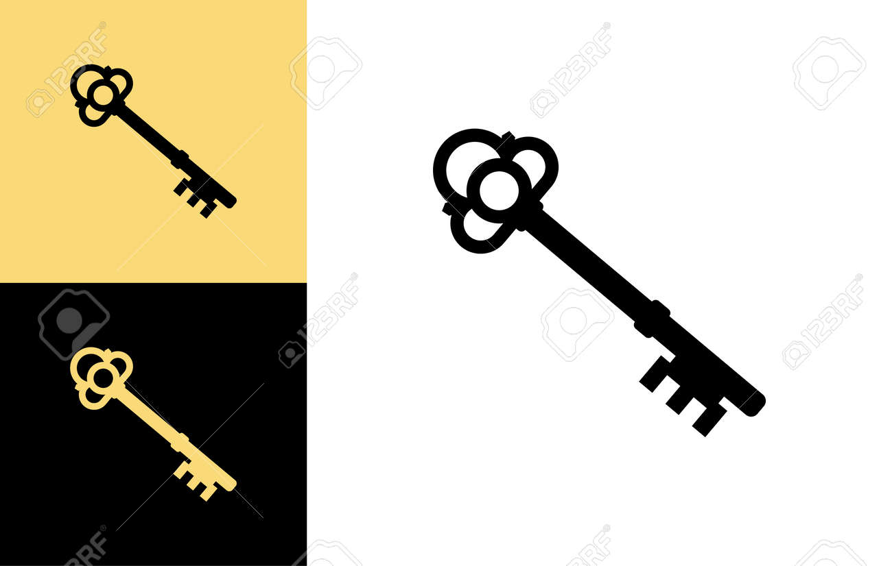 Old key vector house icon logo. Old key silhouette antique lock illustration - 168952768