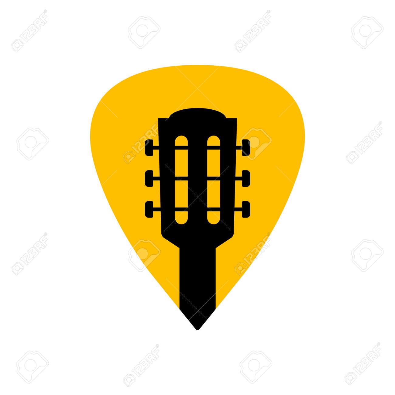 Guitar acoustick pick vector design icon flat logo. Mediator guiatar music symbol headstock - 168952813