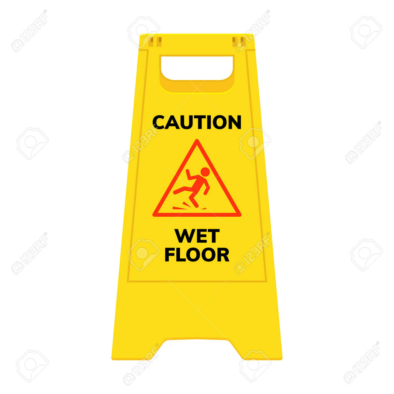 Wet floor sign. Safety yellow slippery floor warning icon vector caution symbol - 168952819