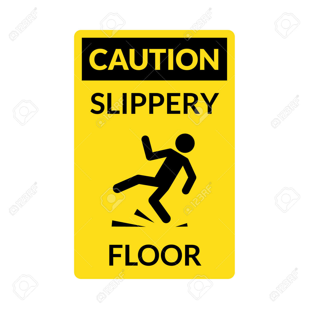 Wet floor sign. Safety yellow slippery floor warning icon vector caution symbol - 168952850