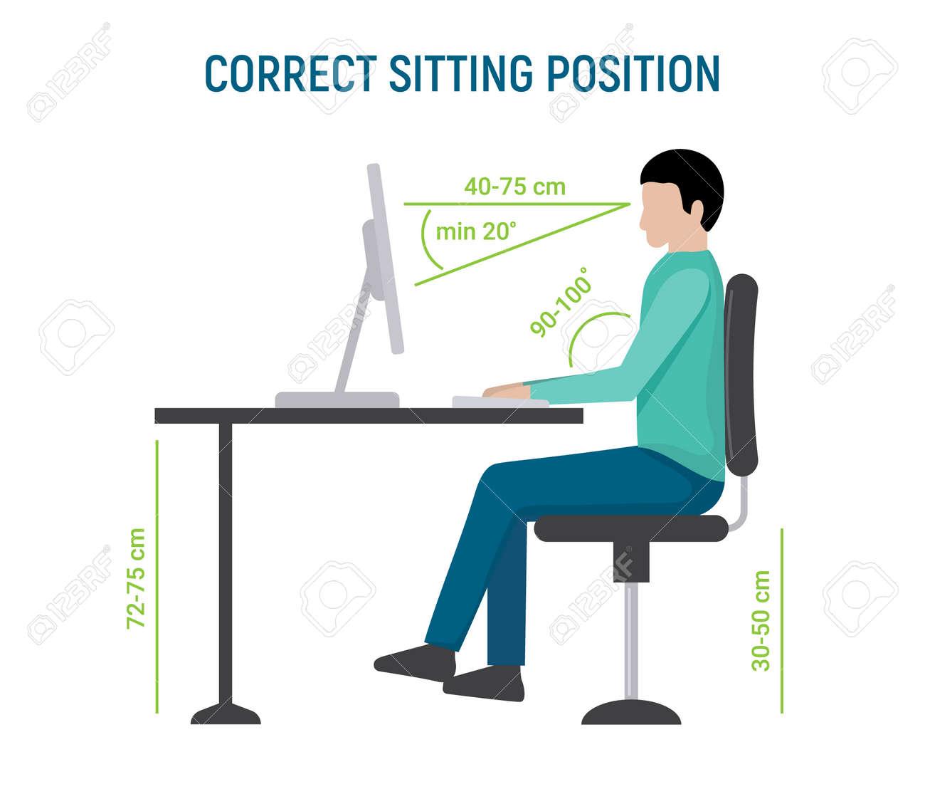 Correct sit position posture. Ergonomic computer desk correct posture business pose - 168952879