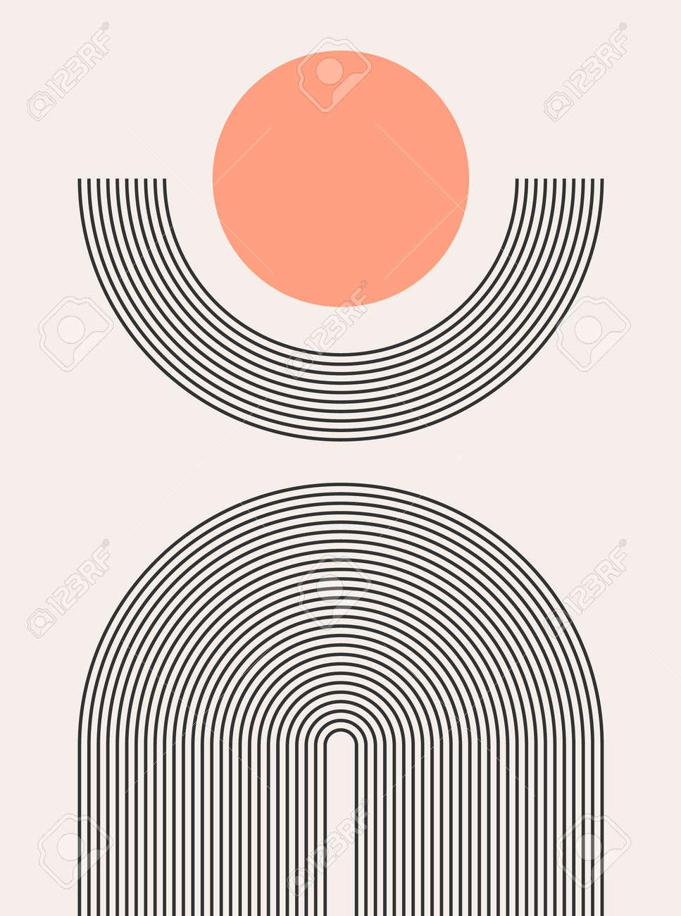 Abstract modern bohemian contemporary geometric minimal pattern art style. Wall line boho abstract shape arch - 168952909