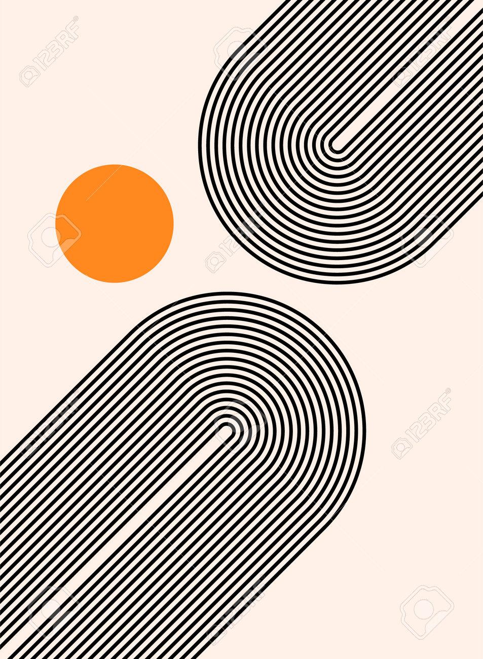 Abstract modern bohemian contemporary geometric minimal pattern art style. Wall line boho abstract shape arch - 168952920