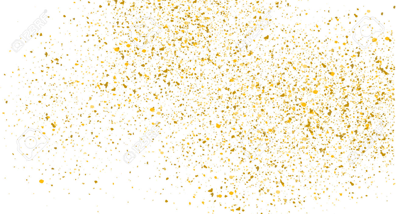 Glitter gold background sparkle dust vector confetti explosion. Golden glitter dust pattern - 168952922