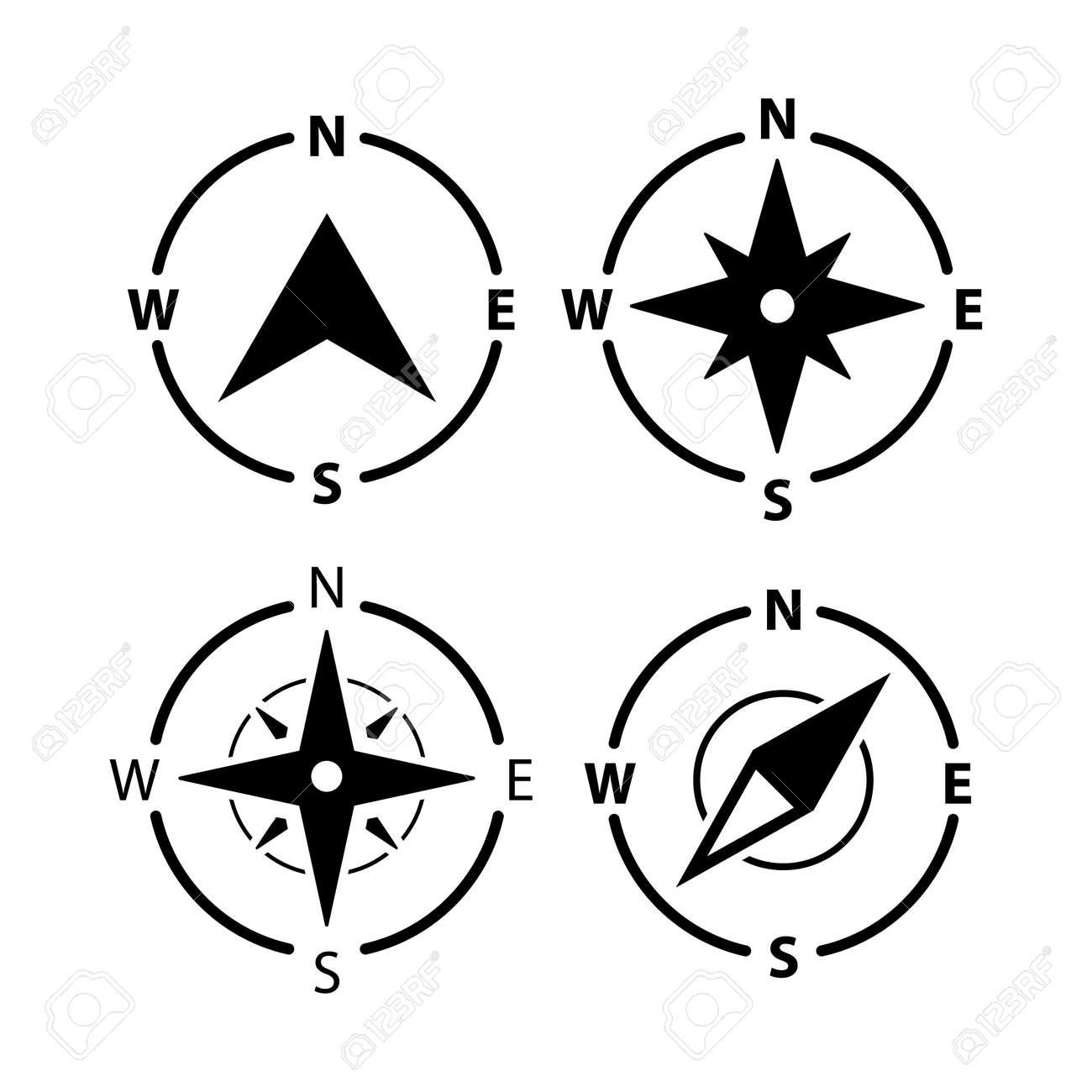 Compass logo icon. North vector arrow orienteering compass map gps navigator - 168932600