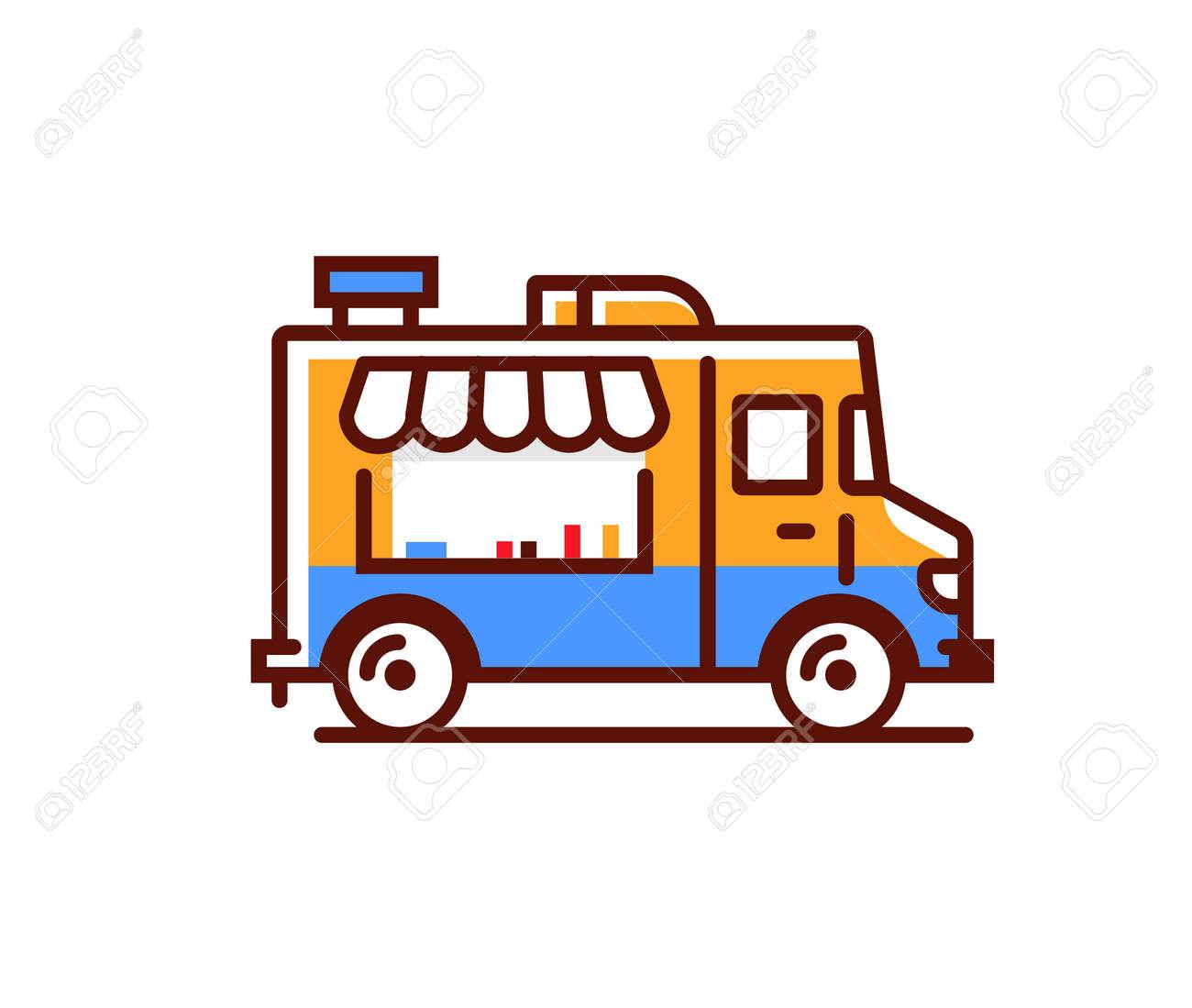 Food truck logo icon. Vector foodtruck kitchen street van design icon - 168932603