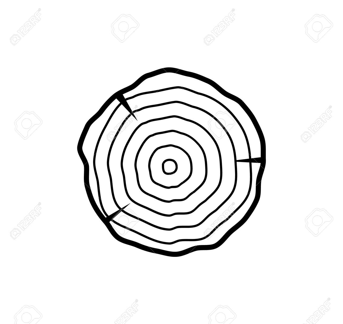 Tree growth rings wood trunk vector annual organic stump. Tree circle icon design - 168932606