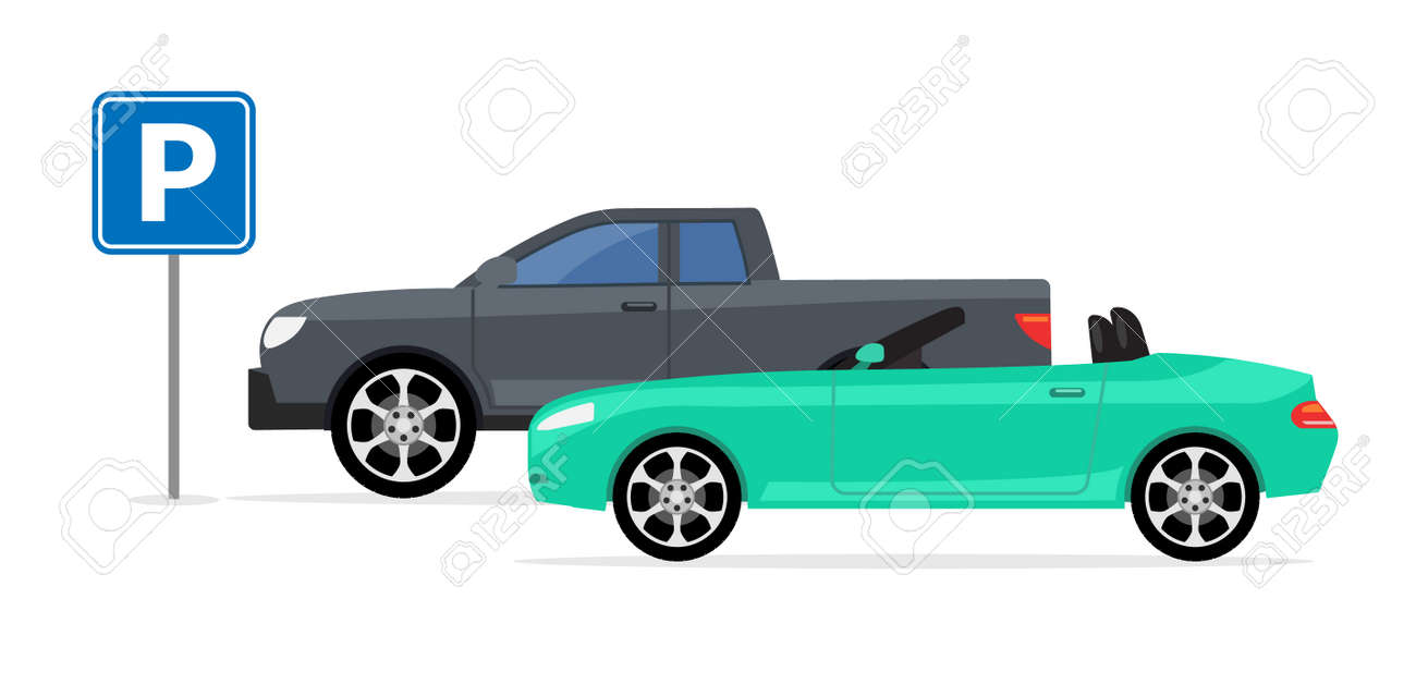 Parking car spot lot. Vector car park icon front view cartoon flat icon - 168932630