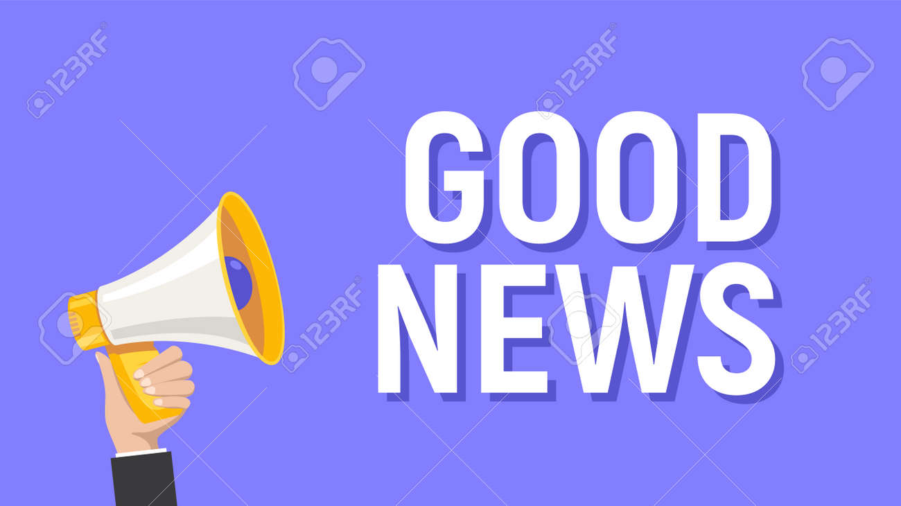Good news announce megaphone hand holding cartoon attention. Great news happy announcement - 168932631