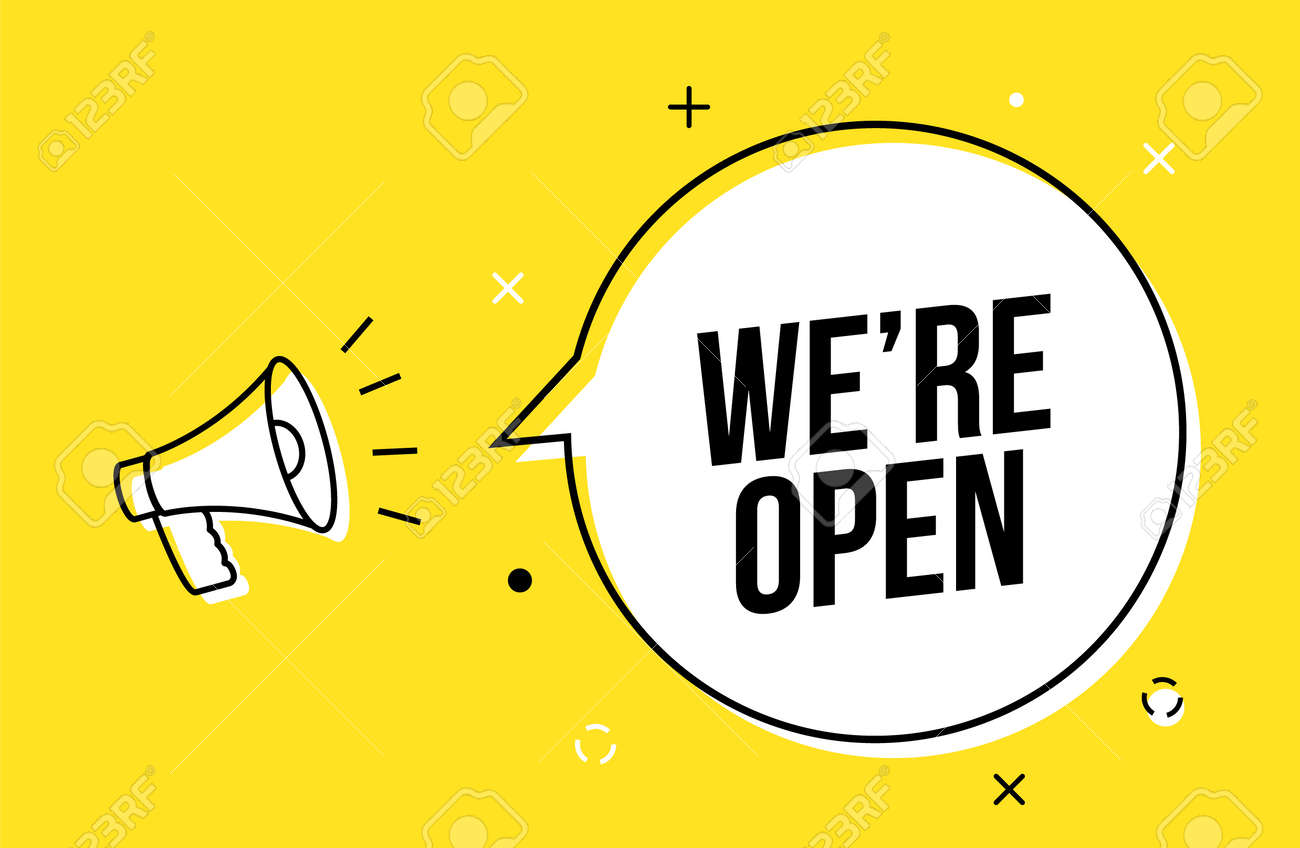 We are open banner sign business vector label shop. We open now offer promotion background - 168932634