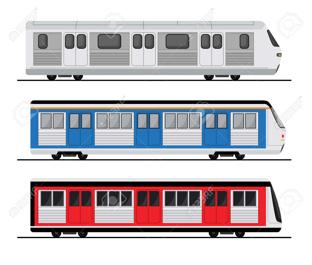 Subway train set illustration, tube station flat train icon. - 168952956