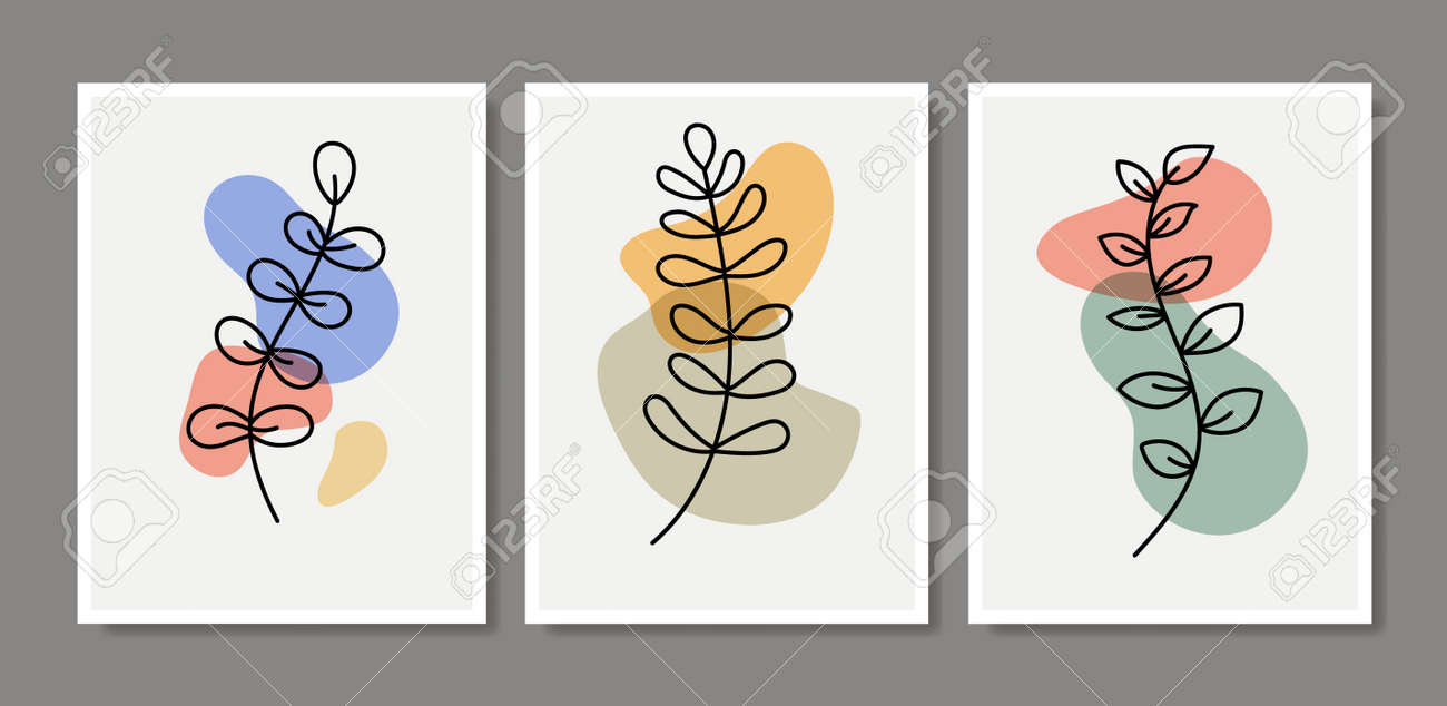 Abstract contemporary flower minimal modern vector design. Minimal abstract flower collection leaf - 168953087