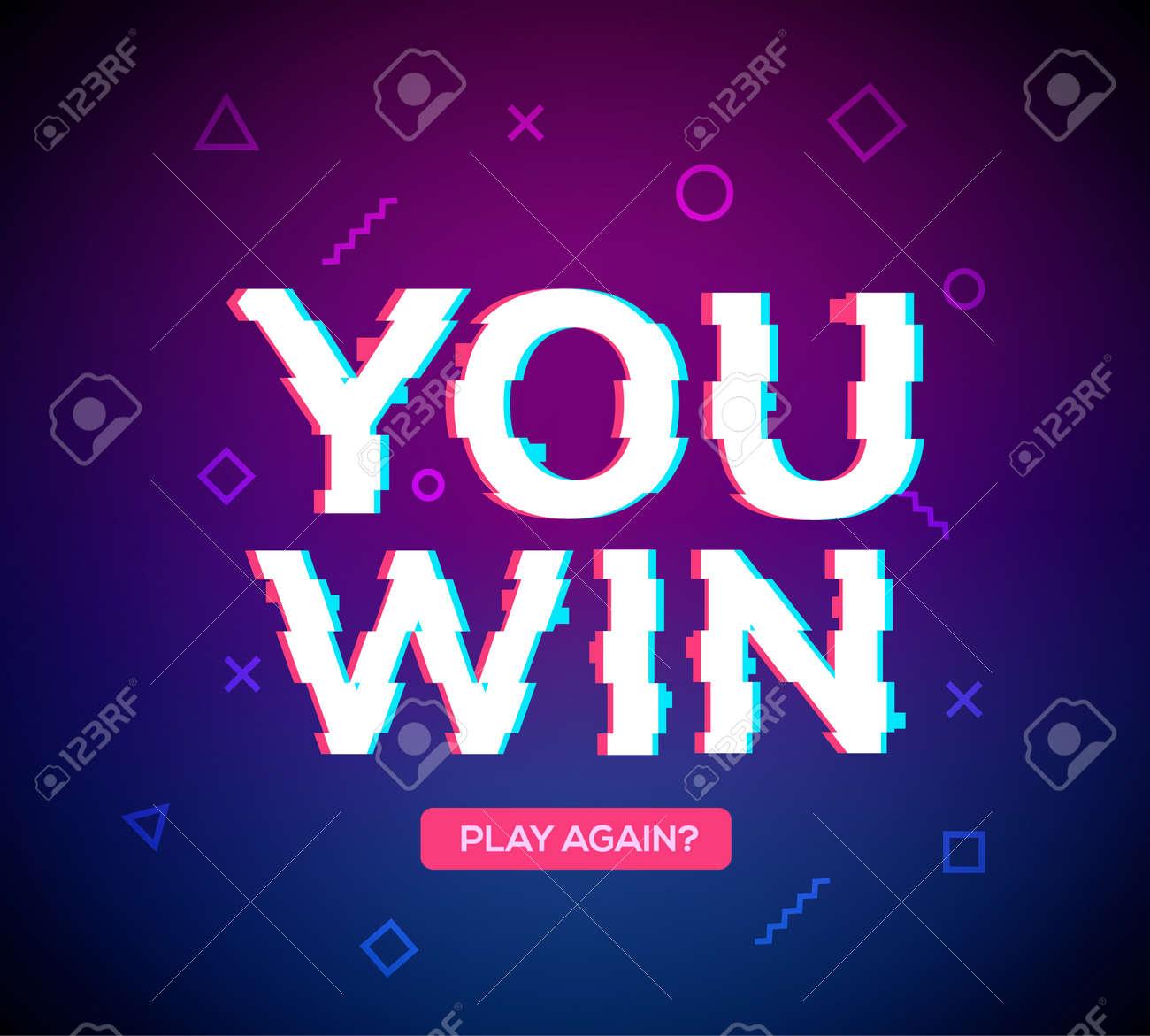 Retro game glitch win score background. Video game you win glitch effect text - 168953109