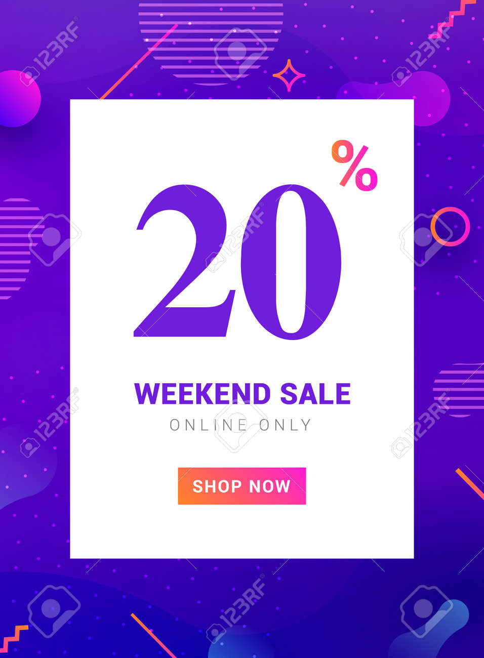 Sale promo banner weekend offer. Big Discount 20 percent promotion deal template - 168953153