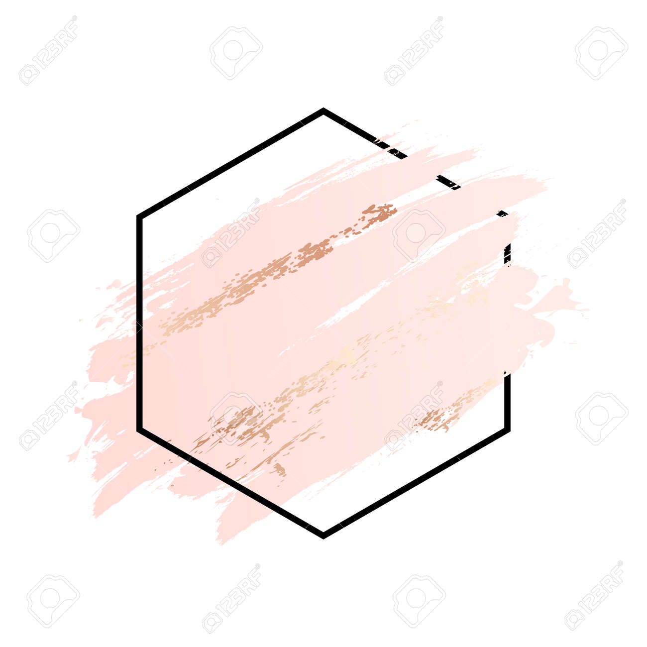 Rose and pink background stroke polygon frame. Vector gold pink brush makeup beauty abstract geometric - 168953172