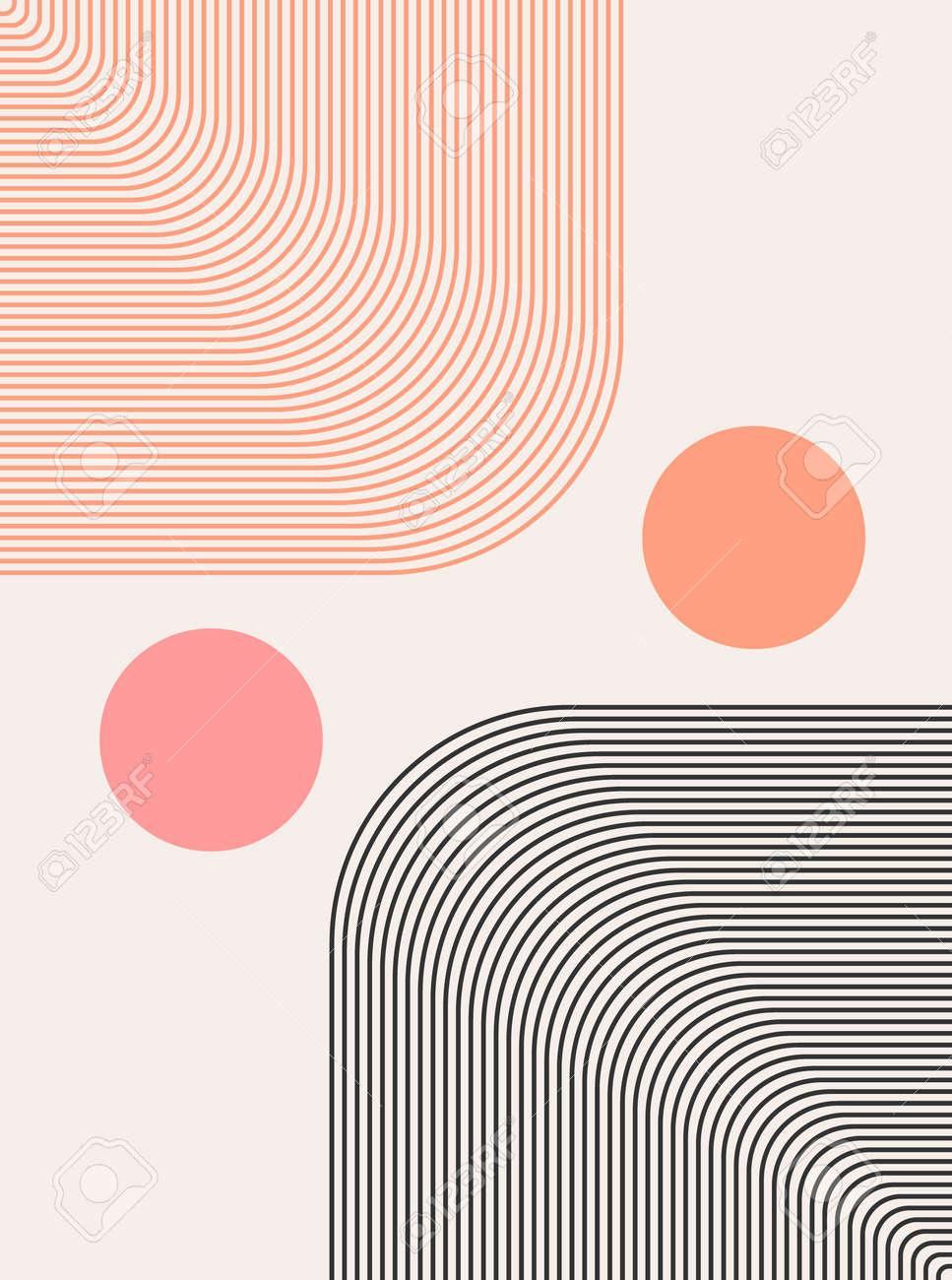 Abstract modern bohemian contemporary geometric minimal pattern art style. Wall line boho abstract shape arch - 168953173