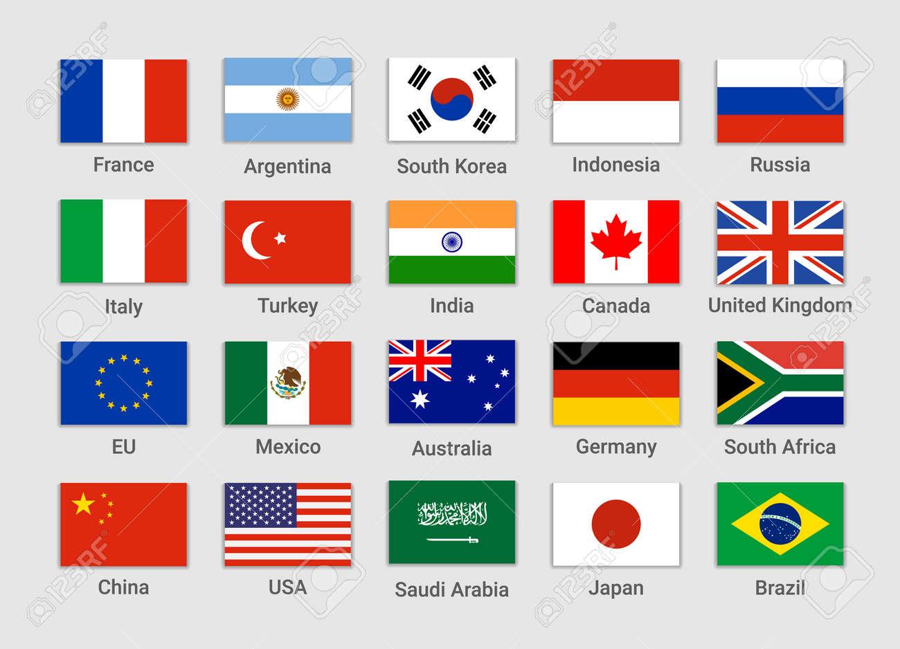 Vector G20 country flag Mexico, USA, Canada. G20 flag set icon - 168953178