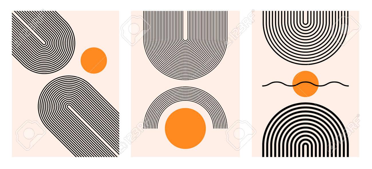 Abstract modern bohemian contemporary geometric minimal pattern art style. Wall line boho abstract shape arch - 168995405